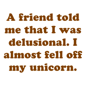 A friend told me that I was delusional. I almost fell off my unicorn.