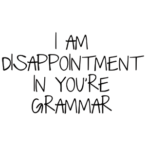 I Am Disappointment In You're Grammar