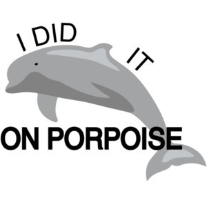 I did it on porpoise Pun