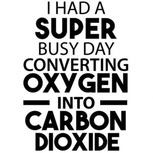 I had a super busy day converting oxygen into carbon dioxide - sarcastic
