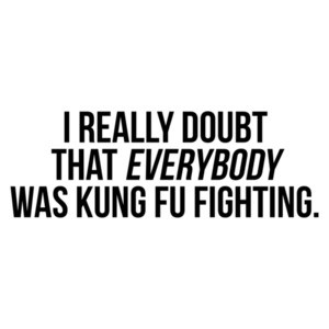 I Really Doubt That Everybody Was Kung Fu Fighting
