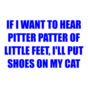 IF I WANT TO HEAR PITTER PATTER OF LITTLE FEET, I'LL PUT SHOES ON MY CAT