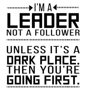 I'm a leader not a follower. Unless it's a dark place.
