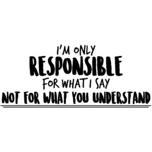 I'm only responsible for what I say not for what you understand - sarcastic