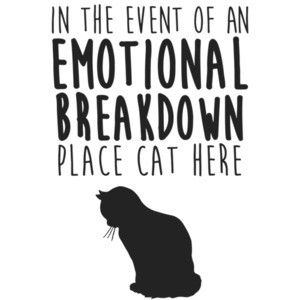 In the event of an emotional breakdown place cat here