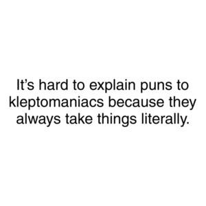 Its Hard To Explain Puns to Kleptomaniacs
