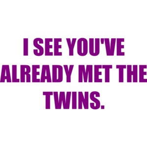 I SEE YOU'VE ALREADY MET THE TWINS.