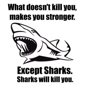 What doesn't kill you makes you stronger. Except for sharks. Funny