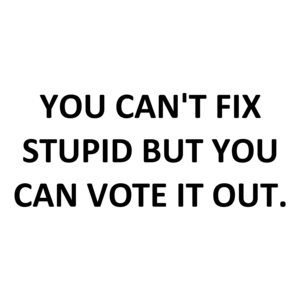 YOU CAN'T FIX STUPID BUT YOU CAN VOTE IT OUT.