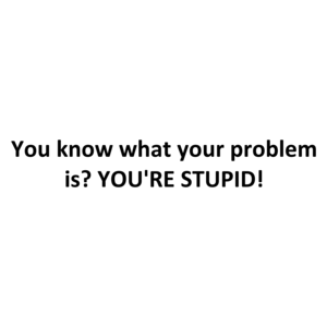 You know what your problem is? YOU'RE STUPID!